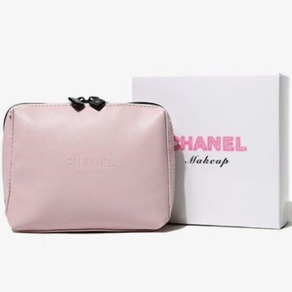 b7fe18cddbec NEW CHANEL Pink Leather Logo Makeup VIP Bag Case